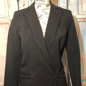 Max Studio Long Jacket Wool Blend Pinstriped